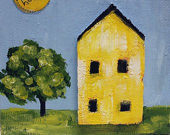 Worldpaintinggallery-100% Hand-Painted Modern Oil Painting On Canvas Wall Art Home Decoration Yellow House 1 Piece Canvas Art Unframe And Unstretch front-352688