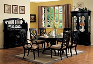FORMAL DINING ROOM TABLE WITH HUTCH SIDE BOARD BRITT 9 PIECE SET