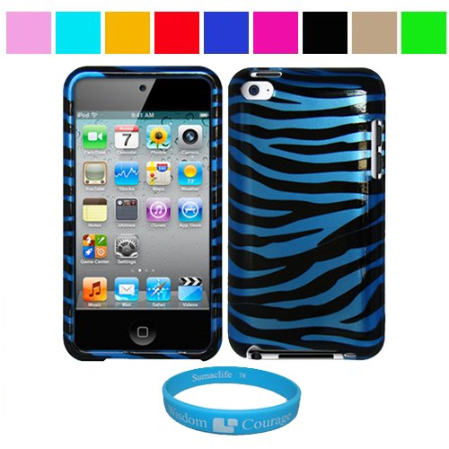 Durable Blue Zebra Two Piece Front and Back Protective Hard Shell Crystal Cover Case for Apple iPod Touch 4th Generation + SumacLife TM Wisdom Courage Wristband, Blue Zebra