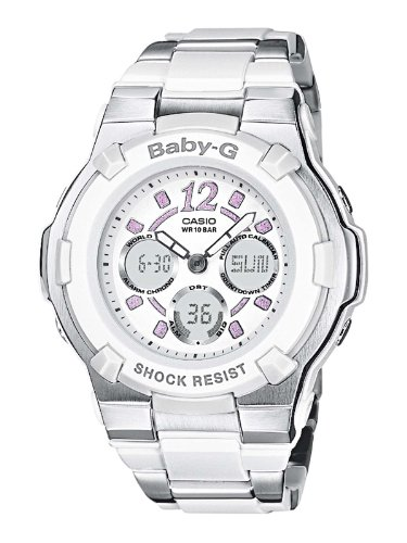 Casio Baby-G BGA-112C-7BER Women's Analog and Digital Quartz Watch with White Dial and Stainless Steel Bracelet