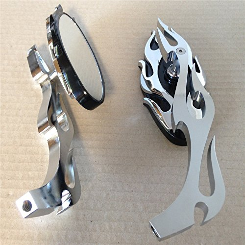 Motorcycle Flame style rearview mirror for any cruiser chopper custom Chrome (Chrome Chopper Mirrors compare prices)