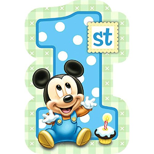 8-Count Mickey's 1st Birthday Invitations with Sticker Seals (Mickey And The Seal compare prices)