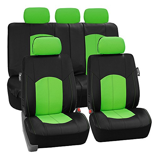 FH Group PU008GREEN115 Full Set Seat Cover (Perforated Leatherette Airbag Compatible and Split Bench Ready Green) (Steering Wheels For 94 3000gt compare prices)