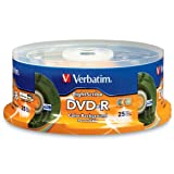 Verbatim 96433 4.7 GB up to 16x LightScribe Color Recordable Disc DVD-R 25-Disc Spindle