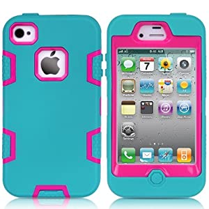MagicSky Robot Series Hybrid Case for Apple iPhone 4 4S 4G - 1 Pack - Retail Packaging - Hot Pink/Blue