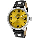 Invicta Men's 1462 Vintage Collection Riveted Leather Strap Yellow Dial Watch by Invicta