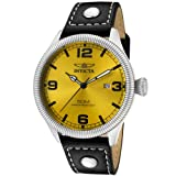 Invicta Men's 1462 Vintage Collection Riveted Leather Strap Yellow Dial Watch
