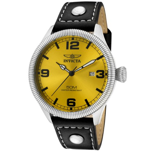 d60d8db572ee2 Invicta Men s 1462 Vintage Collection Riveted Leather Strap Yellow Dial  Watch