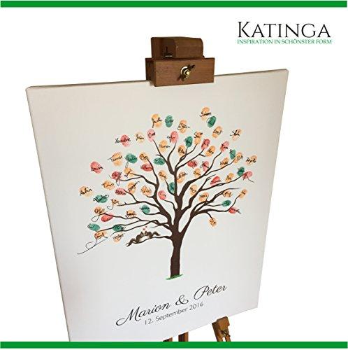 personalisierte leinwand zur hochzeit motiv herbstbaum als g stebuch f r fingerabdr cke. Black Bedroom Furniture Sets. Home Design Ideas