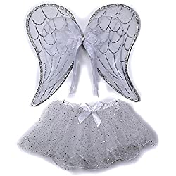Silver Toddler Girl Angel Wings Tutu Costume Dress Up Set 2-5T
