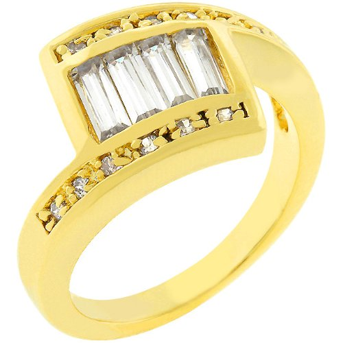 Anniversary 2.2 CT 14k Yellow Gold Plated Baguette CZ Ring Size 9