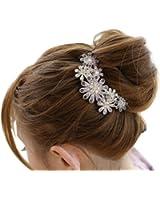 Barette Epingle Peigne Cheveux Cristal Strass Glitter Chrysanthème Femme Mariée