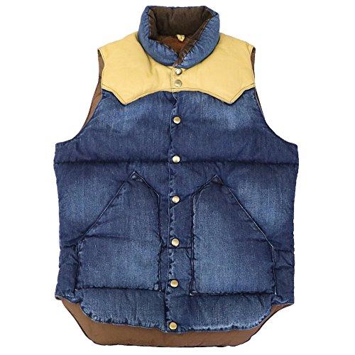 (ロッキーマウンテンフェザーベッド) Rocky Mountain Featherbed『Down Vest/DENIM』(INDIGO USED/YELLOW) (メンズ) 2016FW (40(M), INDIGO USED/YELLOW)