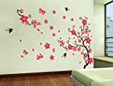UberLyfe Red Flowers Wall Sticker (Wall Covering Area: 90cm x 140cm)