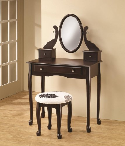 Vanity with Tilting Mirror Coordinating Stool in Cappuccino by Coaster