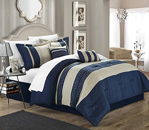 Navy And Grey Bedding 1244 front