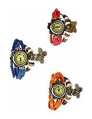 Felizo Combo Offer Pack Of 3 Multi Strap Fancy Butterfly Bracelet Vintage Watch (Red, Blue & Orange)