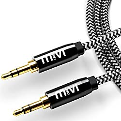 6ft long Nylon Braided Original Mivi Tough Aux Audio Cable with 3.5mm Male to Male Gold plated connectors for Headphones, Mobile phones, Home, Car stereos and more (Black)