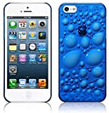 STYLEaphone® CLIP ON LOW PROFILE 3D BUBBLE EFFECT HARD PLASTIC CRYSTAL CASE FOR IPHONE 5 5S (BLUE)