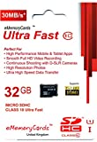 EMemoryCards 32GB Ultra Fast Class 10 30MB/Sec Micro SD SDHC Memory Card For Sony Xperia E1 Mobile