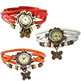 Combo of 3 VB-310 Vintage Butterfly White + Orange + Red
