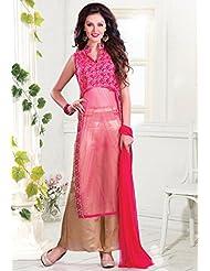 Utsav Fashion Women's Light Fushsia Net And Faux Georgette Readymade Kameez With Palazzo-Medium