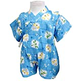 ベビーボーイズ[くろわっさんす べべ]男の子 男児用とんぼ柄甚平ロンパースタイプ(日本製生地使用)コットン 綿100% 新生児 70 サックス