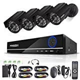 FREDI 8CH Security Camera System Full 960H DVR with 4x 800TVL Superior Night Vision IR Cut Leds indoor/outdoor CCTV Camera(No HDD)