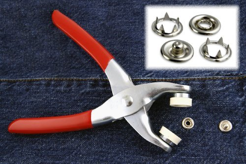 Easy Press Button Snap Fastener Pliers with 108 Snap Pieces - 3/16