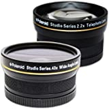 PLR Studio Series .43x High Definition Wide Angle Lens With Macro Attachment + PLR Studio Series 2.2X High Definition Telephoto Lens Travel Kit For The Sony Alpha DSLR SLT-A33, A35, A37, A55, A57, A65, A77, A99, A100, A200, A230, A290, A300, A330, A350, A380, A390, A450, A500, A560, A550, A700, A850, A900 & Minolta Maxxum Digital SLR Cameras Which Have Any Of These (18-70mm, 18-55mm, 75-300mm, 55-200mm, 35mm f/1.8, 85mm f/2.8, 50mm, 100mm) Sony Lenses