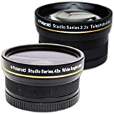 PLR Studio Series .43x High Definition Wide Angle Lens With Macro Attachment + PLR Studio Series 2.2X High Definition Telephoto Lens Travel Kit For The Nikon D5000, D3000, D3200, D5100, D3100, D7000, D4, D800, D800E, D600, D40, D40x, D50, D60, D70, D80, D