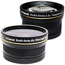 PLR Studio Series .43x High Definition Wide Angle Lens With Macro Attachment + PLR Studio Series 2.2X High Definition Telephoto Lens Travel Kit For The Nikon D5000 D3000 D3200 D5100 D3100 D7000 D4 D800 D800E D600 D40 D40x D50 D60 D70 D80 D90 D100 D200 D300 D3 D3S D700 Digital SLR Cameras Which Have Any Of These (18-55mm 55-200mm 50mm) Nikon Lenses