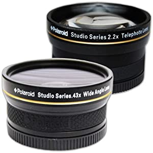PLR Studio Series .43x High Definition Wide Angle Lens With Macro Attachment + PLR Studio Series 2.2X High Definition Telephoto Lens Travel Kit For The Canon Digital EOS Rebel T4i (650D), T3 (1100D), T3i (600D), T1i (500D), T2i (550D), XSI (450D), XS (1000D), XTI (400D), XT (350D), 1D C, 60D, 60Da, 50D, 40D, 30D, 20D, 10D, 5D, 1D X, 1D, 5D Mark 2, 5D Mark 3, 7D, 6D Digital SLR Cameras Which Has This (18-135mm, 17-85mm, 24-85mm, 70-300mm L) Canon Lens