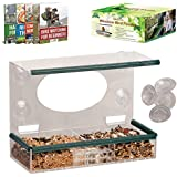 Large 100% Clear Window Bird Feeder - Made Of High Quality See Though Acrylic, With Removable Tray, Drain Holes, Double Layers Of Heavy Duty Suction Cups - Best Gift For Kids, Pets & Couples