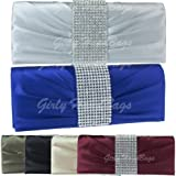 Girly HandBags Gold Latte Wheat Diamante Satin Clutch Bag Evening Party Wedding Royal Blue