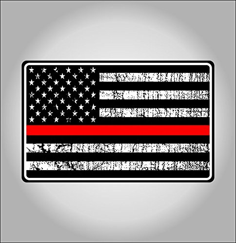 Fire Dept red line american flag sticker / decal **Free Shipping** (Fire Dept Window Decal compare prices)