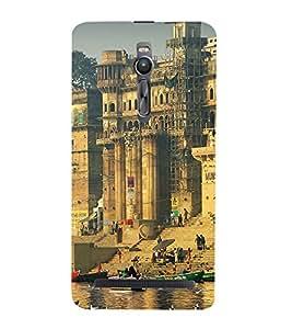 printtech Varanasi Ghats Back Case Cover for Asus Zenfone 2 / Asus Znfone 2 ZE550ML