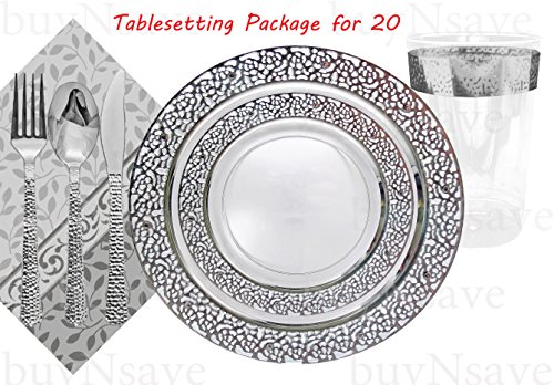 Elegant Wedding Party Disposable Plastic Plates Inspiration Clear with Silver,for 20 Guests,Dinner Plates10.25