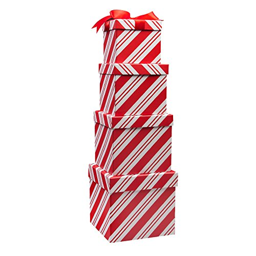 Candy Cane Nesting 4 Gift Box Set; 4 Different Sizes