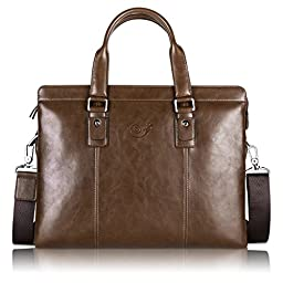Light Brown Ladies Leather Laptop Travel Bag Satchel for 13\
