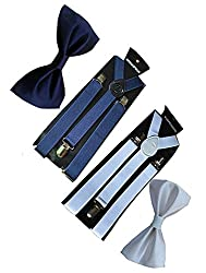 Sunshopping unisex navy blue and white stretchable suspenders with bow combo (r-243) (Multi-Coloured)