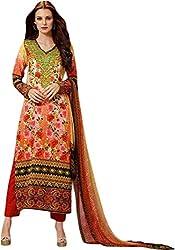 Begum Riwaaz Women's Georgette Unstitched Dress Material(1103, Red)