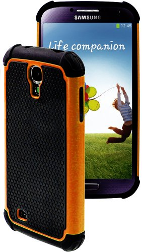 Images for myLife (TM) Orange and Black - Rugged Design (2 Piece Hybrid Bumper) Hard and Soft Case for the Samsung Galaxy S4