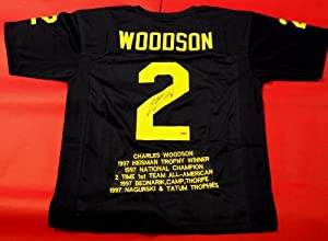 CHARLES WOODSON AUTOGRAPHED MICHIGAN WOLVERINES STAT JERSEY