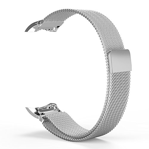 Samsung Gear Fit2 Watch Band, MoKo Milanese Loop Stainless Steel Bracelet Smart Watch Strap + Connector for Samsung Gear Fit 2 SM-R360 Smart Watch (NOT FIT Gear S2 & S2 Classic), SILVER (Gear 2 Metal Band compare prices)