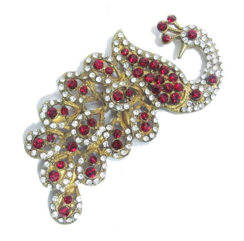 Gold Red Crystal Peacock Swarovski Metal Patch Applique