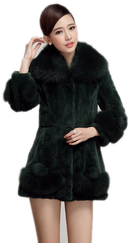 YR.Lover Damen wirklich Rex Kaninchen Pelz Mantel&Jacke Mit Fuchs Pelz Kragen günstig kaufen