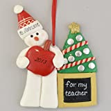 Snowman Teacher Personalized Claydough Ornament