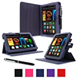 """rooCASE Amazon Kindle Fire HDX 7 Case - (2014 Current Generation) Dual View Multi Angle Tablet 7-Inch 7"""" Stand Cover - NAVY (With Auto Wake / Sleep Cover)"""