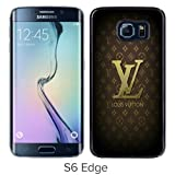 Popular Samsung Galaxy S6 Edge Case ,Beautiful And Unique Designed With Brown-L ouis-Vuitton-Logo-and-Patterns Black Samsung Galaxy S6 Edge Cover